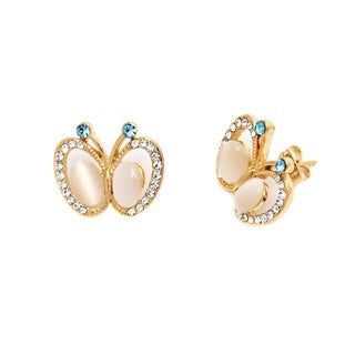 Peermont Jewelry Goldplated Gold and Clear Crystal Butterfly Earrings