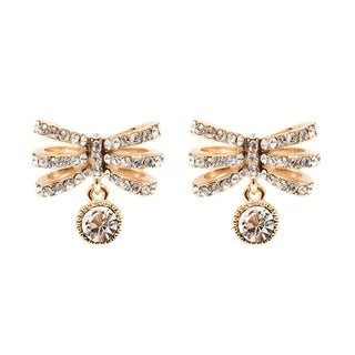 Peermont Jewelry Goldplated Gold and White Austrian Crystal Dragonfly Earrings