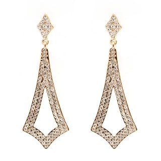 Peermont Jewelry 18k Goldplated Gold and White Austrian Crystal Open Design Drop Earrings