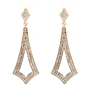 Goldplated Gold and White Austrian Crystal Open Design Drop Earrings
