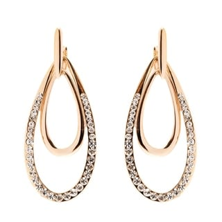 Peermont Jewelry 18k Goldplated Gold and White Austrian Crystal Double Teardrop Drop Earrings