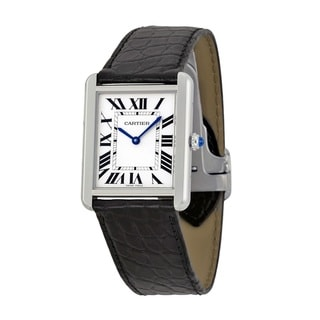 Cartier Men's W5200003 'Tank Solo' Black Leather Watch