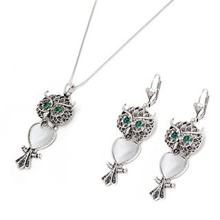 Peermont Jewelry Rhodium-plated Marcasite and Austrian Crystal Owl Drop Earrings and Necklace Set