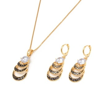 Peermont Jewelry 18k Goldplated Marcasite and Austrian Crystal Teardrop Drop Earrings and Necklace Set