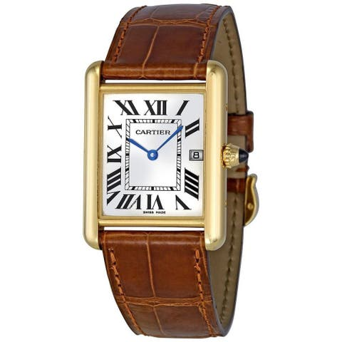 Cartier Men's W1529756 'Tank Louis' 18kt Yellow Gold Brown Leather Watch