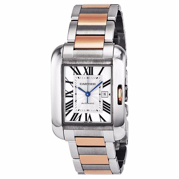 Cartier Unisex W5310007 'Tank Anglaise' 18kt Rose Gold Automatic Two-Tone Stainless Steel Watch. Opens flyout.