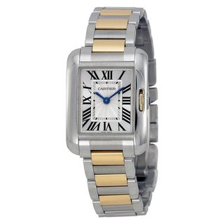 Cartier Unisex W5310007 'Tank Anglaise' 18kt Rose Gold Automatic Two-Tone Stainless Steel Watch