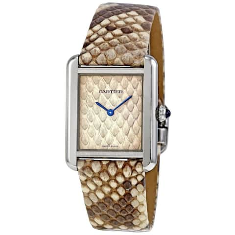 Cartier Women's W5200020 'Tank Solo' Beige Leather Watch