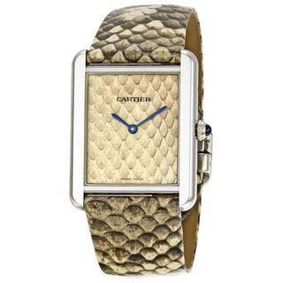 Cartier Women's W5200021 'Tank Solo' Beige Leather Watch
