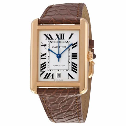 Cartier Women's W5200026 'Tank Solo' 18kt Pink Gold Automatic Brown Leather Watch