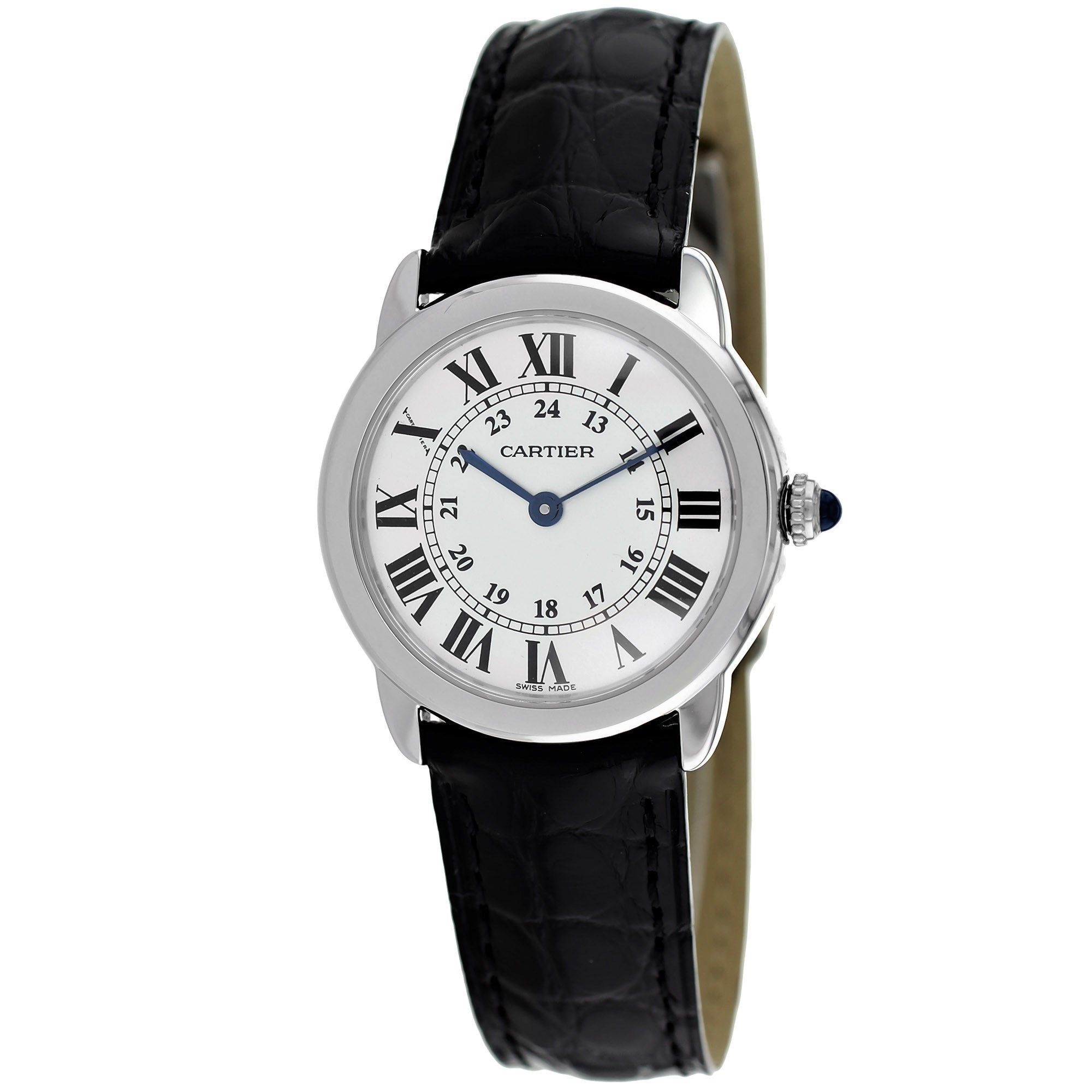 Cartier Womens W6700155 Ronde Solo Black Leather Watch Cartier Womens W6700155 Leather