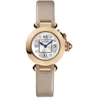 Cartier Women's WJ124028 'Pasha de Cartier' 18kt Rose Gold Diamond Beige Satin Watch