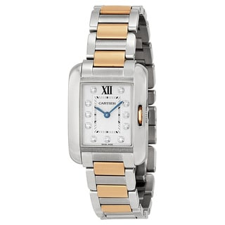 Link to Cartier Women's WT100024 'Tank Anglaise' 18kt Rose Gold Diamond Two-Tone Stainless Steel Watch Similar Items in Women's Watches