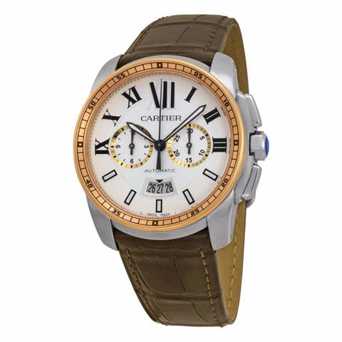 Cartier Men's W7100043 'Calibre de Cartier' 18kt Pink Gold Chronograph Automatic Brown Leather Watch