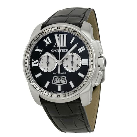 Cartier Men's W7100060 'Calibre de Cartier' Automatic Chronograph Black Leather Watch