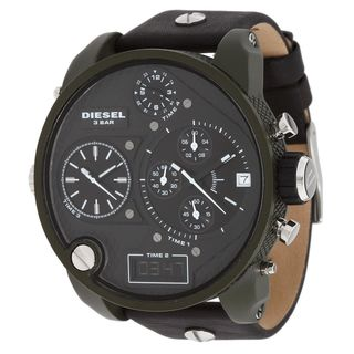 Diesel Men's DZ7250 'Big Daddy' Chronograph Black Leather Watch