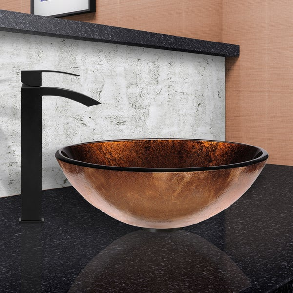 VIGO Russet Glass Vessel Sink and Duris Faucet Set in Matte Black Finish - Brown