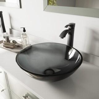 VIGO Sheer Black Glass Vessel Sink and Otis Faucet Set in Matte Black Finish