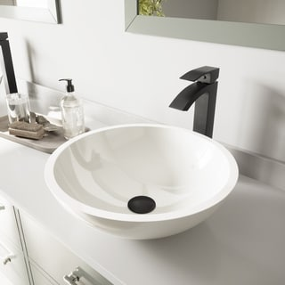 VIGO Flat Edged White Phoenix Stone Vessel Sink and Duris Faucet Set in Matte Black Finish