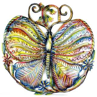 Handmade 24-inch Painted Butterfly and Gecko Metal Wall Art (Haiti)
