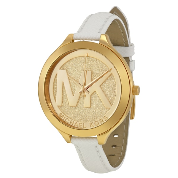 Michael Kors Women's MK2389 'Slim Runway' White Leather Watch