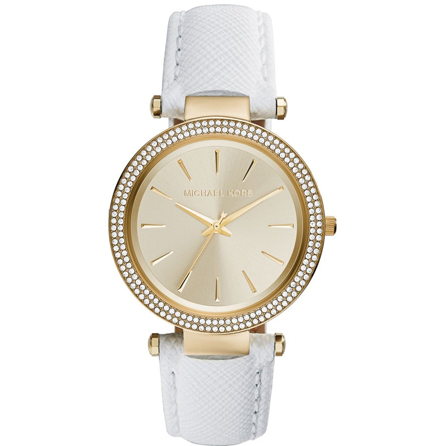 Michael Kors Womens MK2391 Darci Crystal White Leather Watch Michael Kors Womens MK2391 Leather