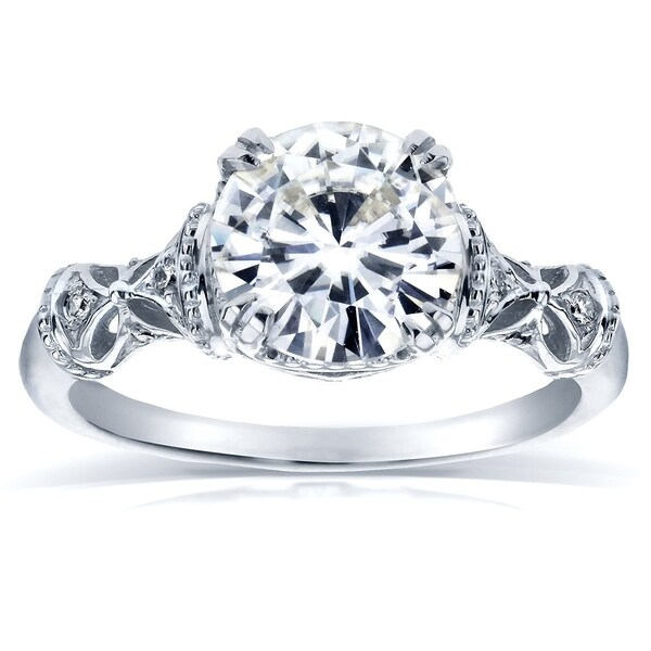 Annello by Kobelli 14k White Gold 1 1/2ct TGW Round-cut Moissanite and Diamond Fancy Art Nouveau Engagement Ring