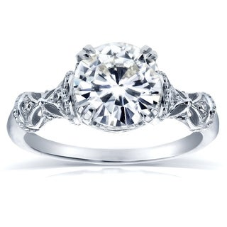 Annello 14k White Gold Round-cut Moissanite and Diamond Antique Decorative Engagement Ring (G-H, I1-I2)