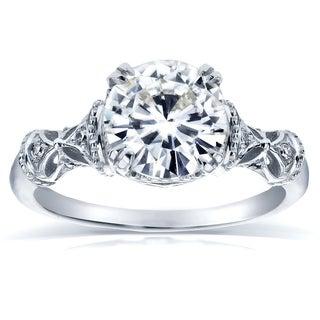 Annello by Kobelli 14k White Gold 1 1/2ct TGW Round-cut Moissanite (HI) and Diamond Fancy Art Nouveau Engagement Ring