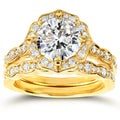Annello by Kobelli 14k Yellow Gold 1 7/8ct TGW Moissanite and Diamond Floral Antique Bridal Rings Set (2pc Set)