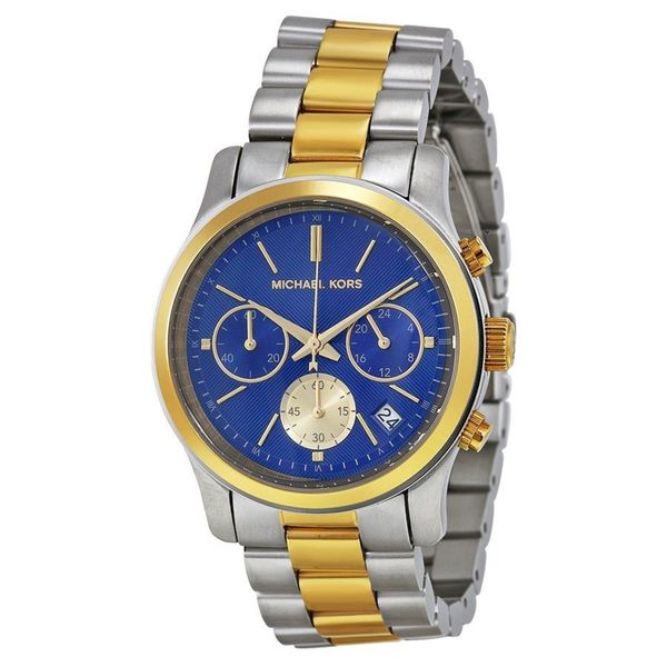 85cdbfbb3f9c Shop Michael Kors Women s MK6165  Runway  Chronograph Two-Tone Stainless  Steel Watch - Free Shipping Today - Overstock - 10283504