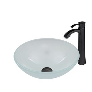 VIGO White Frost Glass Vessel Sink and Otis Faucet Set in Matte Black Finish