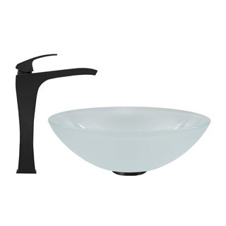 VIGO White Frost Glass Vessel Sink and Blackstonian Faucet Set in Matte Black Finish