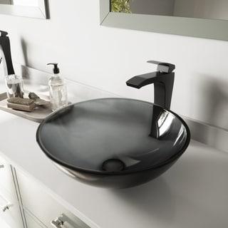 VIGO Sheer Black Glass Vessel Sink and Blackstonian Faucet Set in Matte Black Finish