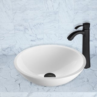 VIGO Flat Edged White Phoenix Stone Vessel Sink and Otis Faucet Set in Matte Black Finish
