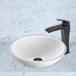 VIGO Flat Edged White Phoenix Stone Vessel Sink and Blackstonian Faucet Set in Matte Black Finish
