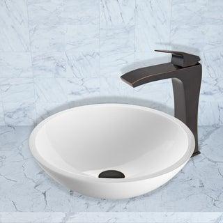 VIGO Flat Edged White Phoenix Stone Vessel Sink and Blackstonian Faucet Set in Antique Rubbed Bronze Finish