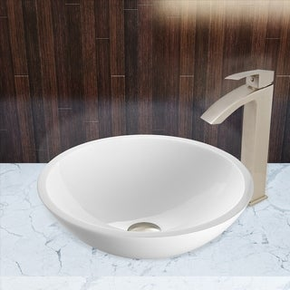 VIGO Flat Edged White Phoenix Stone Vessel Sink and Duris Faucet Set in Brushed Nickel Finish