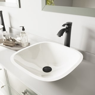VIGO Square Shaped White Phoenix Stone Vessel Sink and Otis Faucet Set in Matte Black Finish