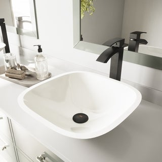 VIGO Square Shaped White Phoenix Stone Vessel Sink and Duris Faucet Set in Matte Black Finish