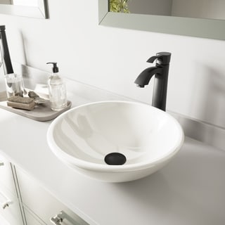 VIGO White Phoenix Stone Vessel Sink and Otis Faucet Set in Matte Black Finish