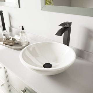VIGO White Phoenix Stone Vessel Sink and Duris Faucet Set in Matte Black Finish
