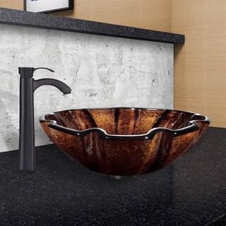 VIGO Walnut Shell Glass Vessel Sink and Otis Faucet Set in Matte Black Finish