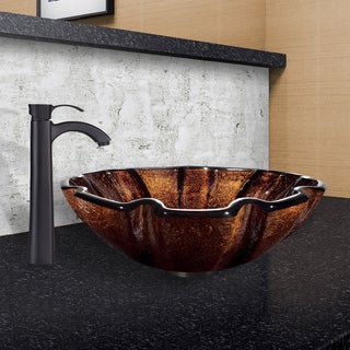 VIGO Walnut Shell Glass Vessel Sink and Otis Faucet Set in Matte Black Finish
