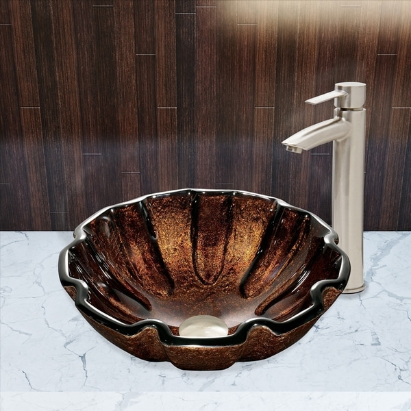 VIGO Walnut Shell Glass Vessel Bathroom Sink Set with Shadow Faucet