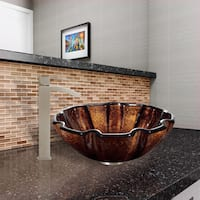 VIGO Walnut Shell Glass Vessel Sink and Duris Faucet Set in Brushed Nickel Finish