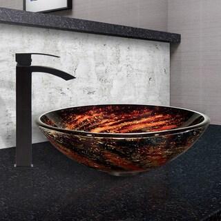 VIGO Northern Lights Glass Vessel Sink and Duris Faucet Set in Matte Black Finish
