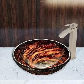 VIGO Northern Lights Glass Vessel Bathroom Sink and Duris Faucet Set