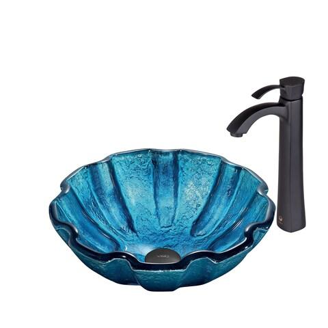 VIGO Mediterranean Seashell Glass Vessel Sink and Otis Faucet Set in Matte Black Finish