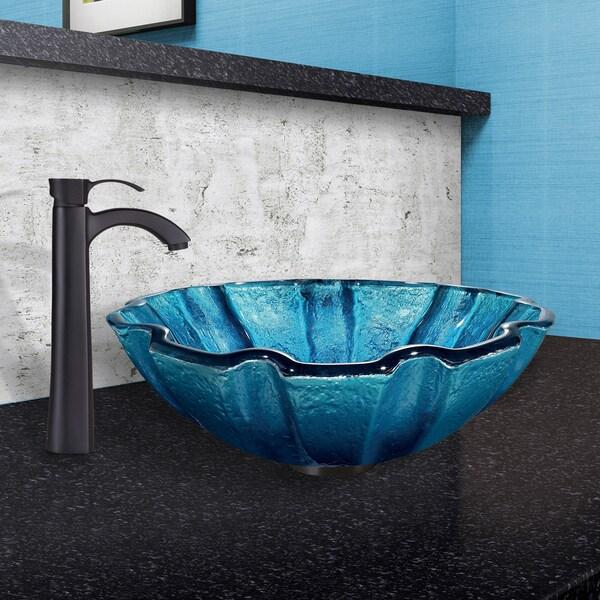 Blue Vigo VG07032 Mediterranean Seashell Glass Vessel Bathroom Sink